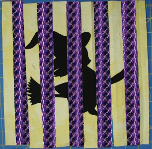 witch block with alternating fabric strips