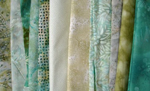 green fabric selection - lights to mediums