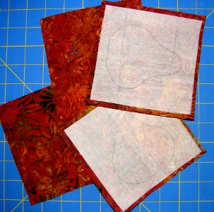drawn fusible pressed to back of squares