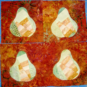 four pear blocks completed