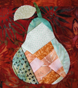 stem and leaf on applique pear