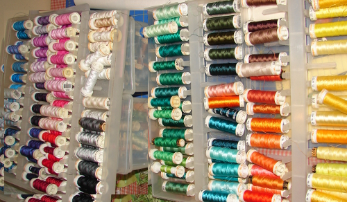 lots of cotton and rayon threads in many different colors