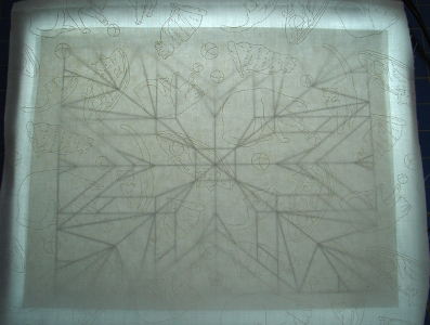 lines on paper showing through fabric
