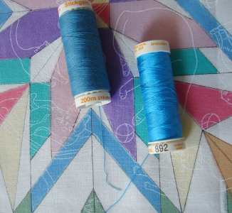 two blue threads for thread painting