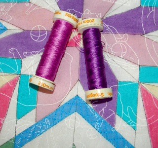 two purple threads for the two purple sections
