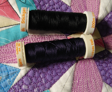 dark purple thread to outline purple sections