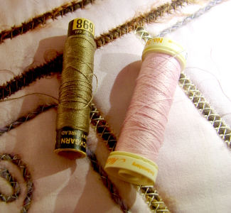 two new threads selected - olive green and a pink