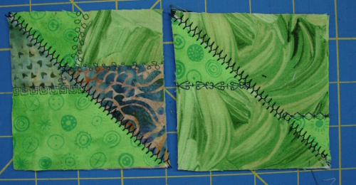 corner sections stitched together into squares for coasters