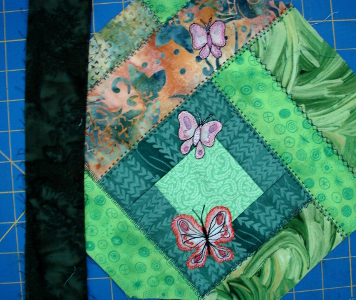 dark green strip next to project which will be used for binding