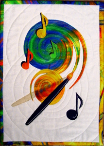 music notes floating - art quilt by Ruth Blanchet