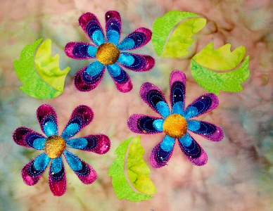 petals stitched in blue and pink thread