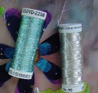 two shiny threads - sulky simmer and metallic