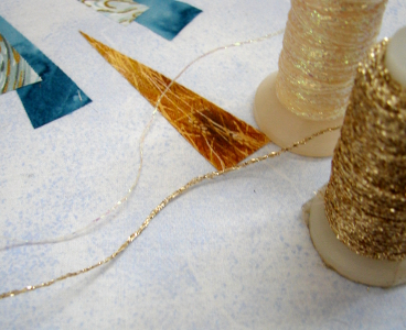 glitter threads gold and mother of pearl