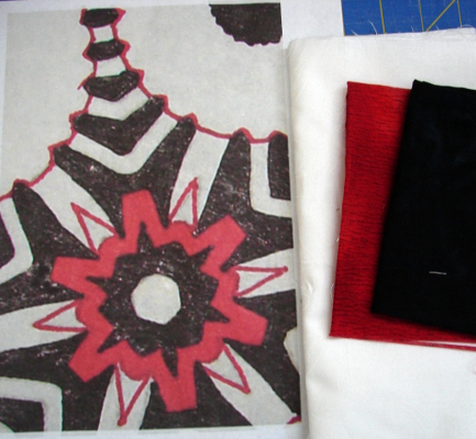 My printed design with fabrics - red, black and white