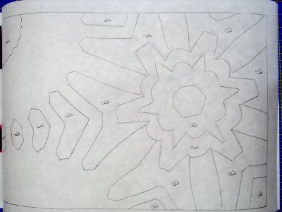 templates drawn and labelled on freezer paper