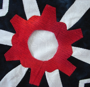 red section stitched in place