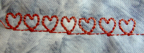 hearts stitched using a builtin embroidery stitch