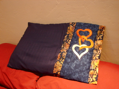 pillow with applique hearts