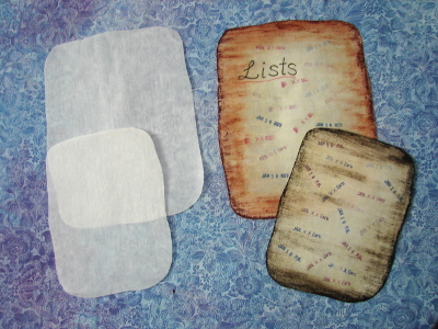 applique lists with backing paper removed