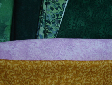 fabrics for foundation flower - green, purple and gold