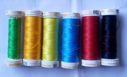 bright colored threads for applique stitching