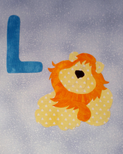 lion applique block with letter L