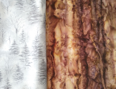 fabric selection - silver and brown fabric