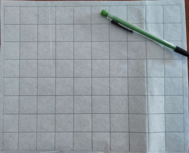 grid drawn on fusible web