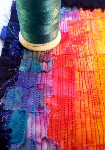 teal thread painting