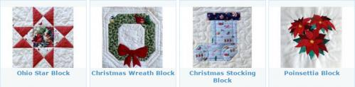 Christmas blocks at ArbeeDesigns include stars, wreaths, stockings & poinsettias