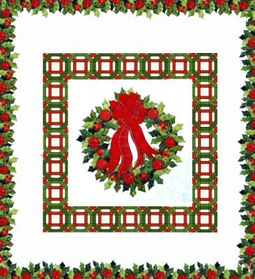 Holly Wreath quilt with applique and patchwork borders