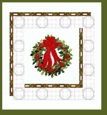 Holly Wreath quilt with border variations
