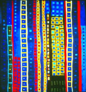 More abstract art for quiltmakers - City Lights by Elizabeth Barton