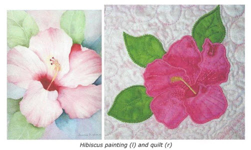 watercolor drawing and embroidery project