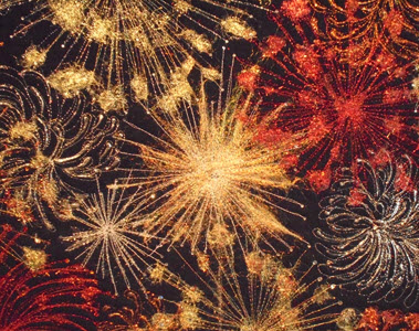 colorful thread painted fireworks