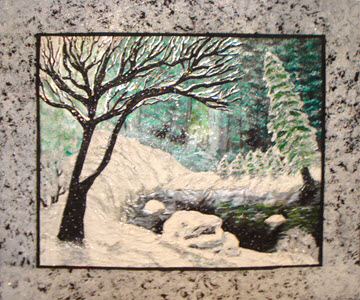 winter wonderland scene with border