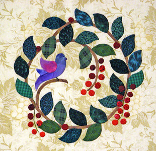 Ecru Wreath made by Nancy Chong using needle-turn applique