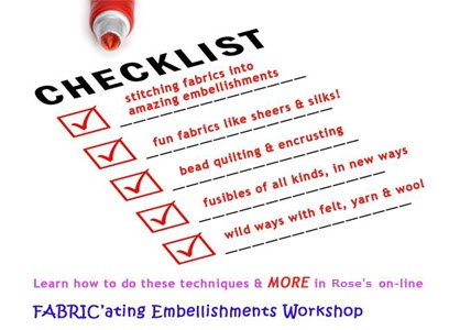 fabric' ating embellishments workshop checklist