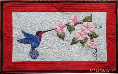 Jillian Groom's Quilted humming bird quilt
