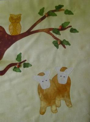 calf, oat tree and owl - a block in A Day In the Country quilt