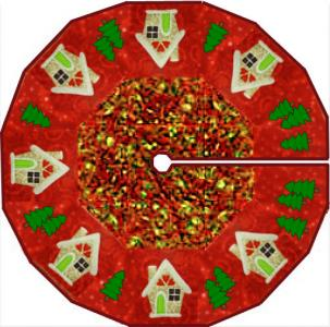 christmas tree skirt with gingerbread houses and christmas trees