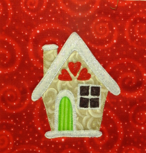 gingerbread house block ideal for totes, cushions, quilts & sweaters.