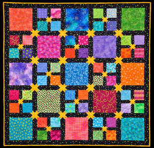 Scrappy Colorful quilt by Jennifer Houlden