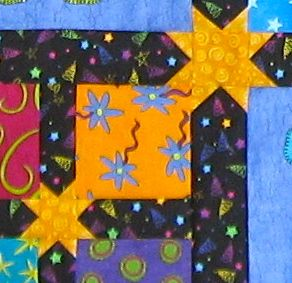 Star sashing in Zoo Friends online class quilt (animal party)