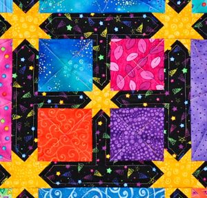 Patchwork block in Zoo Friends quilt