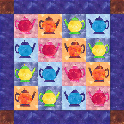 colorful teapot quilt made in EQ7