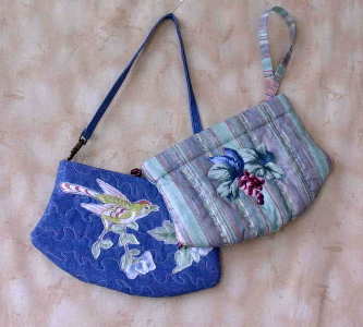 purses decorated with Broderie Perse by Susan Dorchester