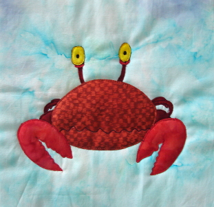 the crab applique block - drawn by H Blanchet for Autism Awareness
