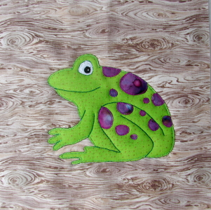 frog block  - an applique pattern designed by an autistic young man