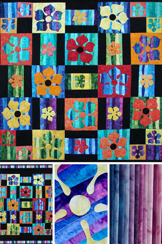 Flower Boxes applique/quilt pattern designed by Ruth Blanchet uses 2.5 jellyroll